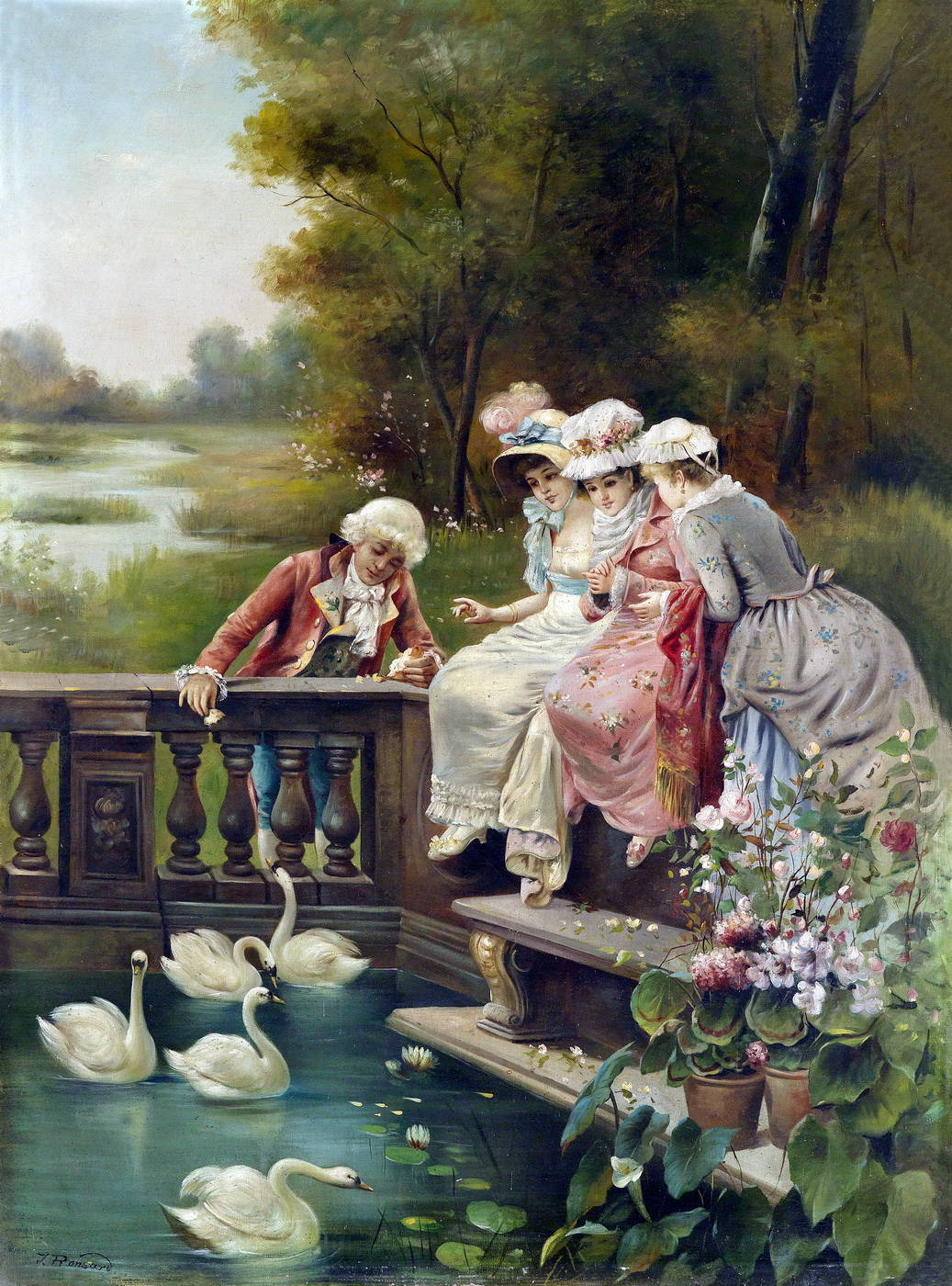 Три юнных леди и юноша кормят лебедей