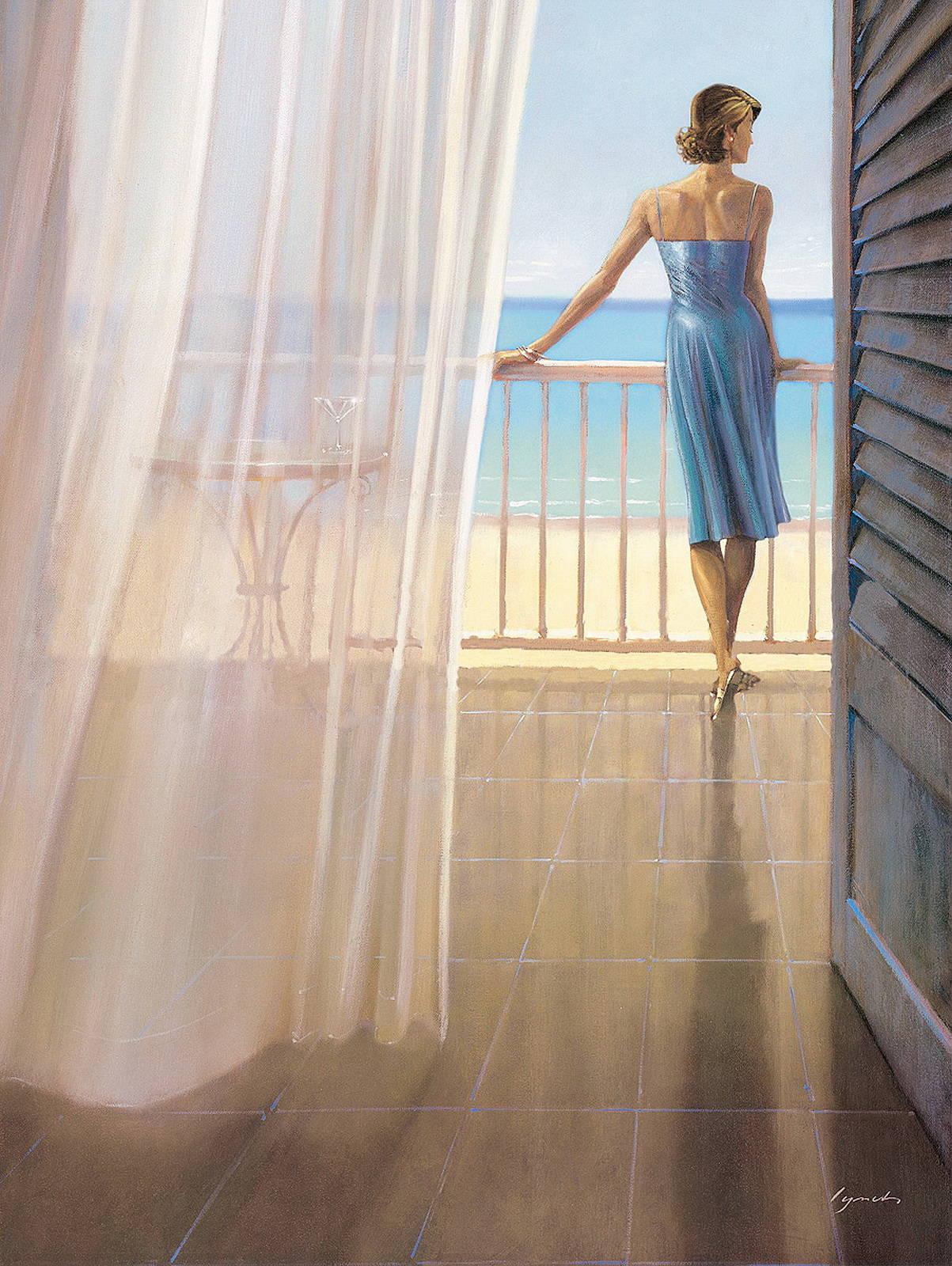 Женщина, балкон масляная живопись лодки ... / искусство / на.