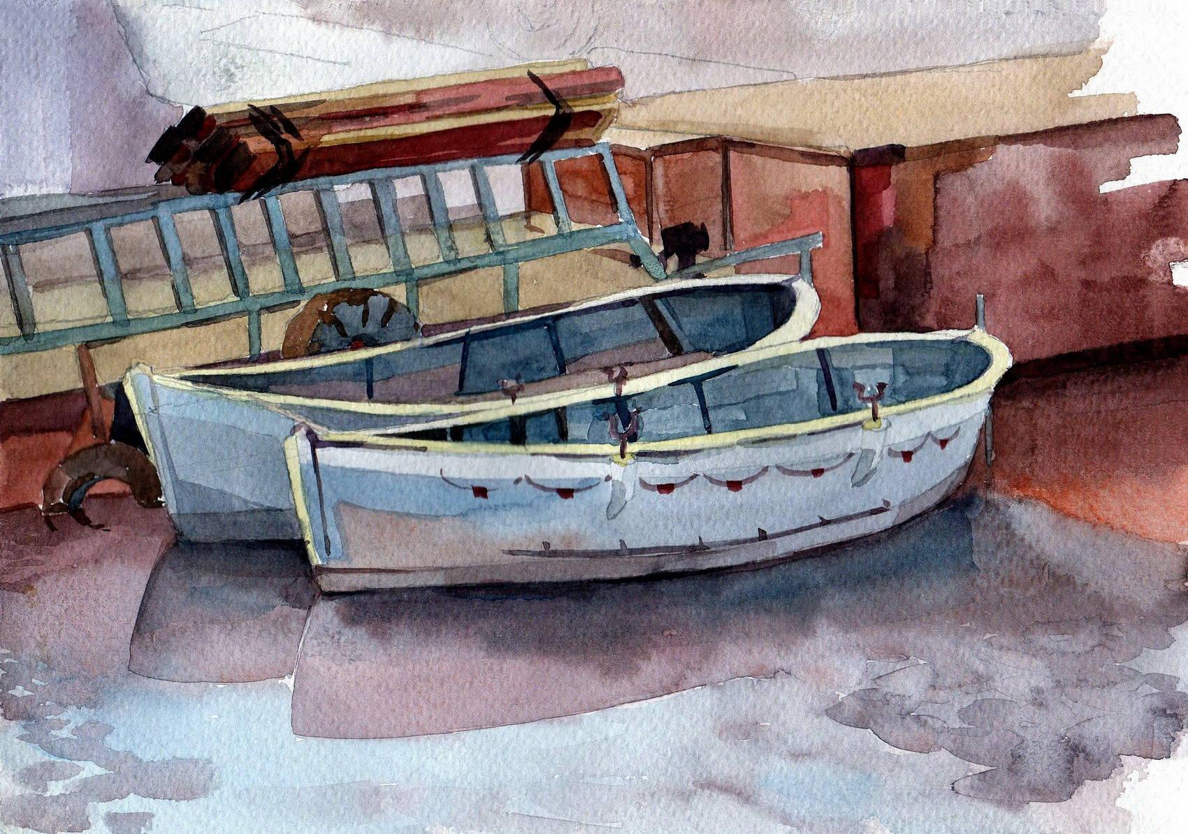 нарисовать лодку в море гуашью