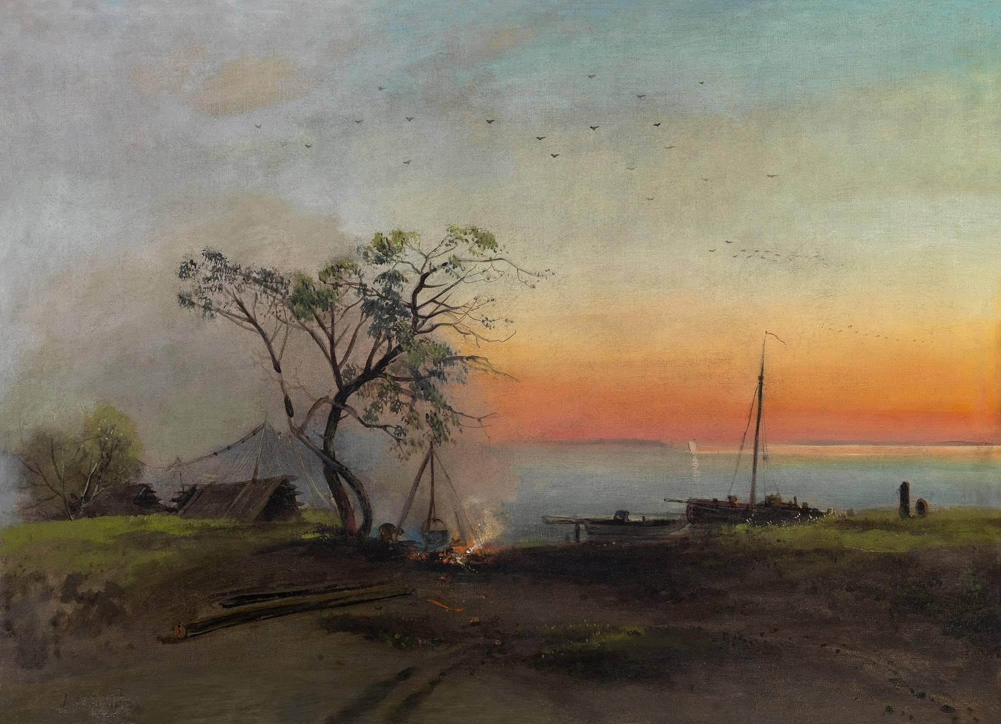 саврасов а.к. пейзаж с рекой и рыбаком