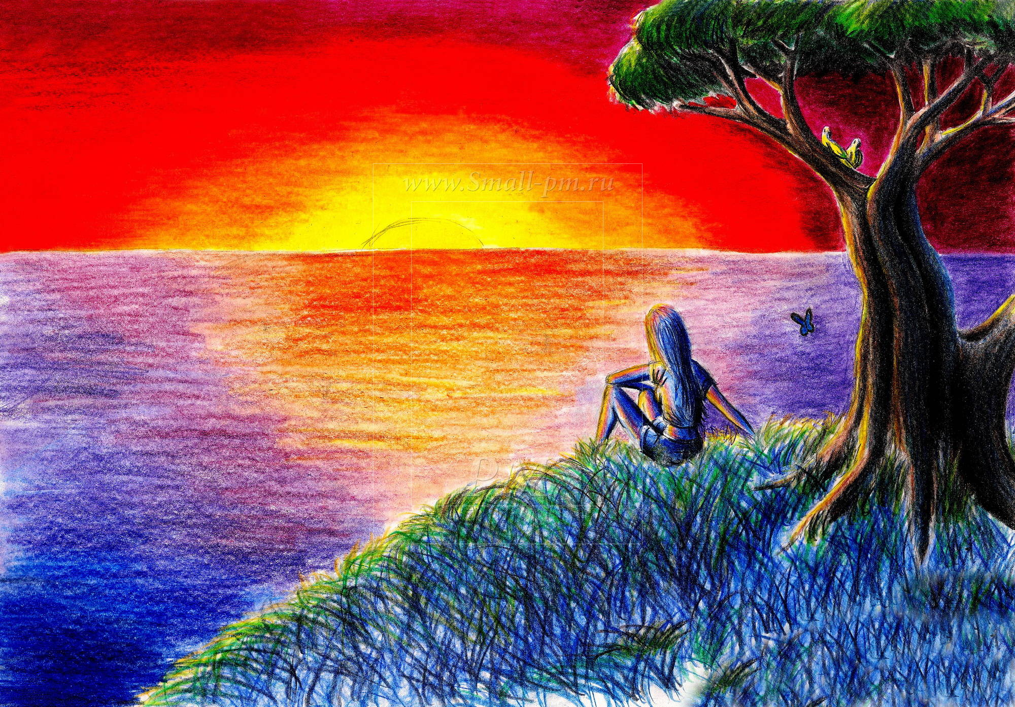 Красивые рисунки карандашом с закатом