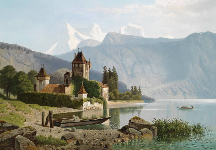Вид замка Оберхофен на озере Фан / Вильгельм Теодор Нокен - Wilhelm Theodor Nocken