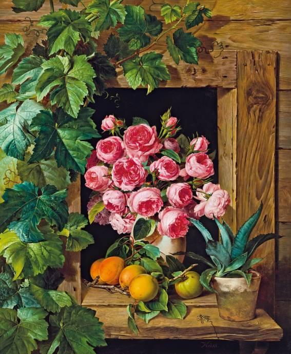 Натюрморт с розами и абрикосом / Фердинанд Кусс - Ferdinand Kuss