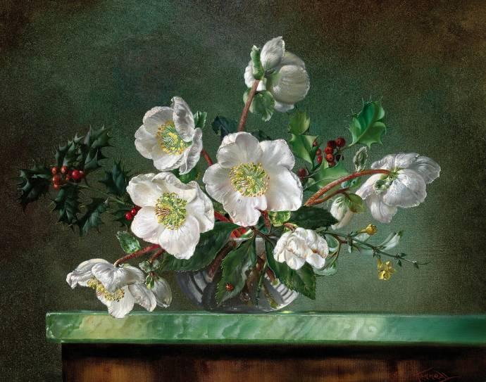 Натюрморт с белыми цветами и красными ягодами / Сесил Кеннеди - Cecil Kennedy