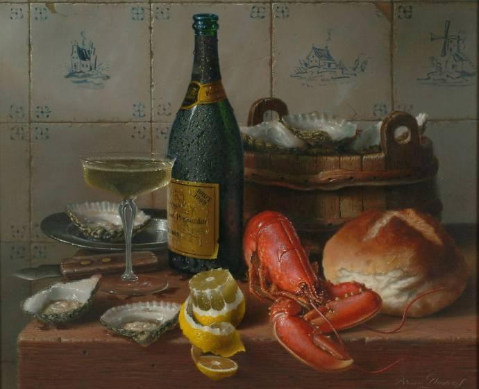 Устрицы, шампанское и лобстеры на столе / Брайн Дэвис - Brian Davies