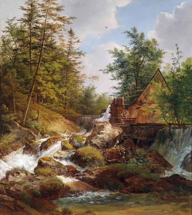 Мельница на горной речке / Йозеф Фейд - Josef Feid