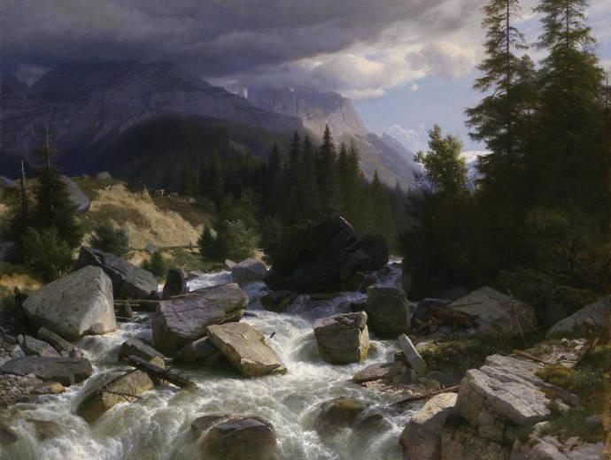 Река в горах. 1890 г. / Йохан Готфрайд Штефан - Johann Gottfried Stefan